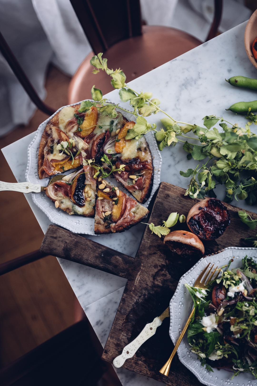 Pizza med persika
